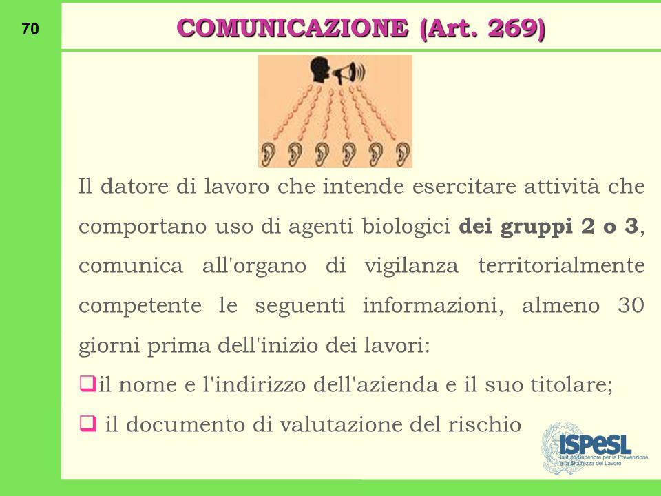 70 COMUNICAZIONE (Art.