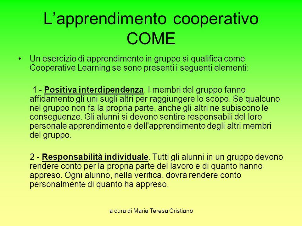 a cura di Maria Teresa Cristiano L'apprendimento cooperativo COME Un esercizio di apprendimento in gruppo si qualifica come Cooperative Learning se so