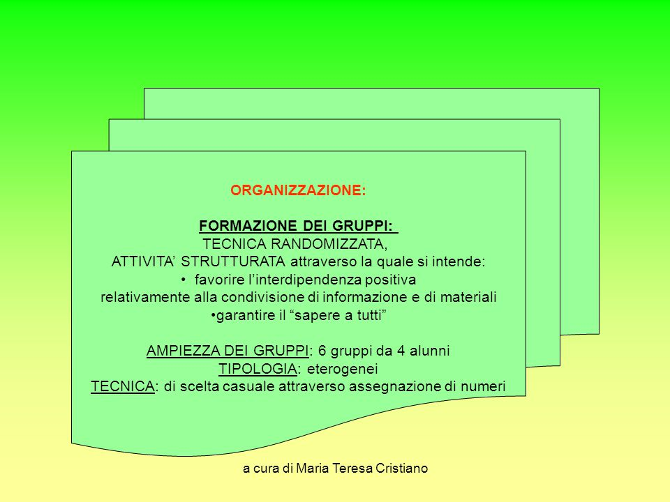 a cura di Maria Teresa Cristiano ORGANIZZAZIONE: FORMAZIONE DEI GRUPPI: TECNICA RANDOMIZZATA, ATTIVITA' STRUTTURATA attraverso la quale si intende: fa