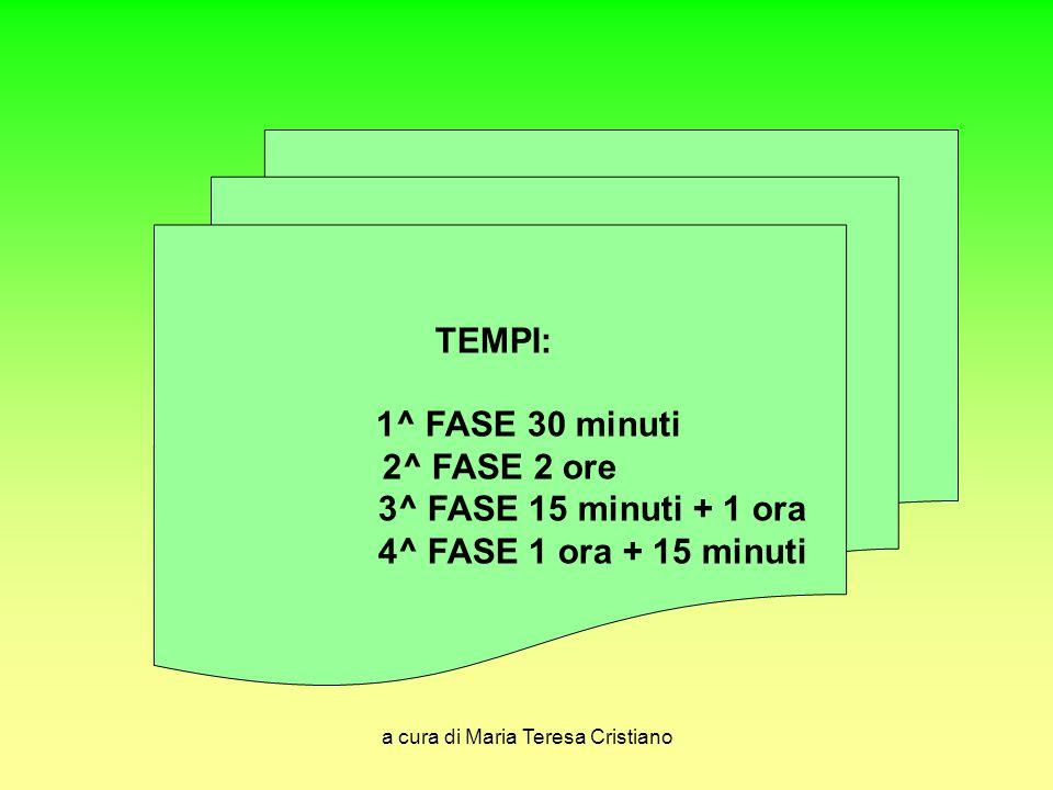 a cura di Maria Teresa Cristiano TEMPI: 1^ FASE 30 minuti 2^ FASE 2 ore 3^ FASE 15 minuti + 1 ora 4^ FASE 1 ora + 15 minuti