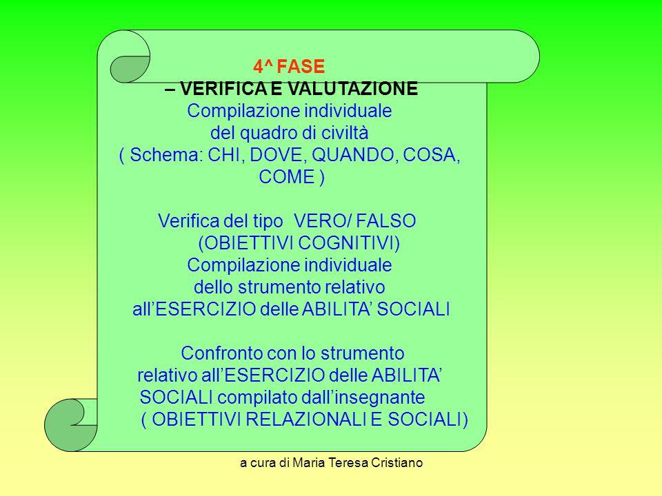 a cura di Maria Teresa Cristiano 4^ FASE – VERIFICA E VALUTAZIONE Compilazione individuale del quadro di civiltà ( Schema: CHI, DOVE, QUANDO, COSA, CO