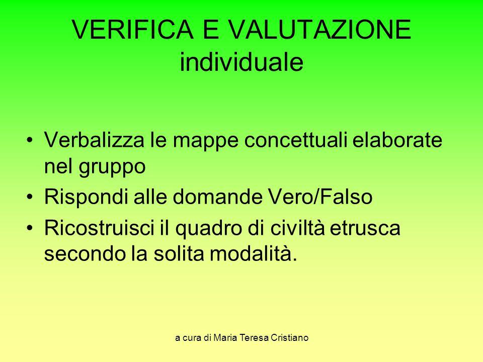 a cura di Maria Teresa Cristiano VERIFICA E VALUTAZIONE individuale Verbalizza le mappe concettuali elaborate nel gruppo Rispondi alle domande Vero/Fa