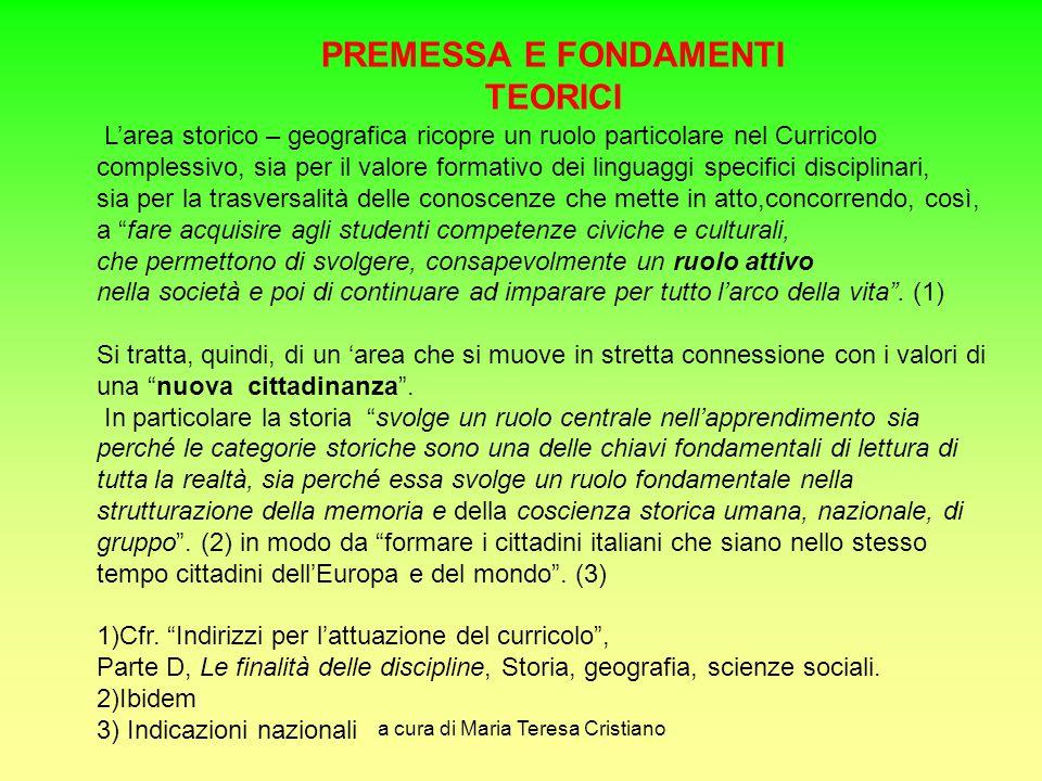 a cura di Maria Teresa Cristiano L'area storico – geografica ricopre un ruolo particolare nel Curricolo complessivo, sia per il valore formativo dei l