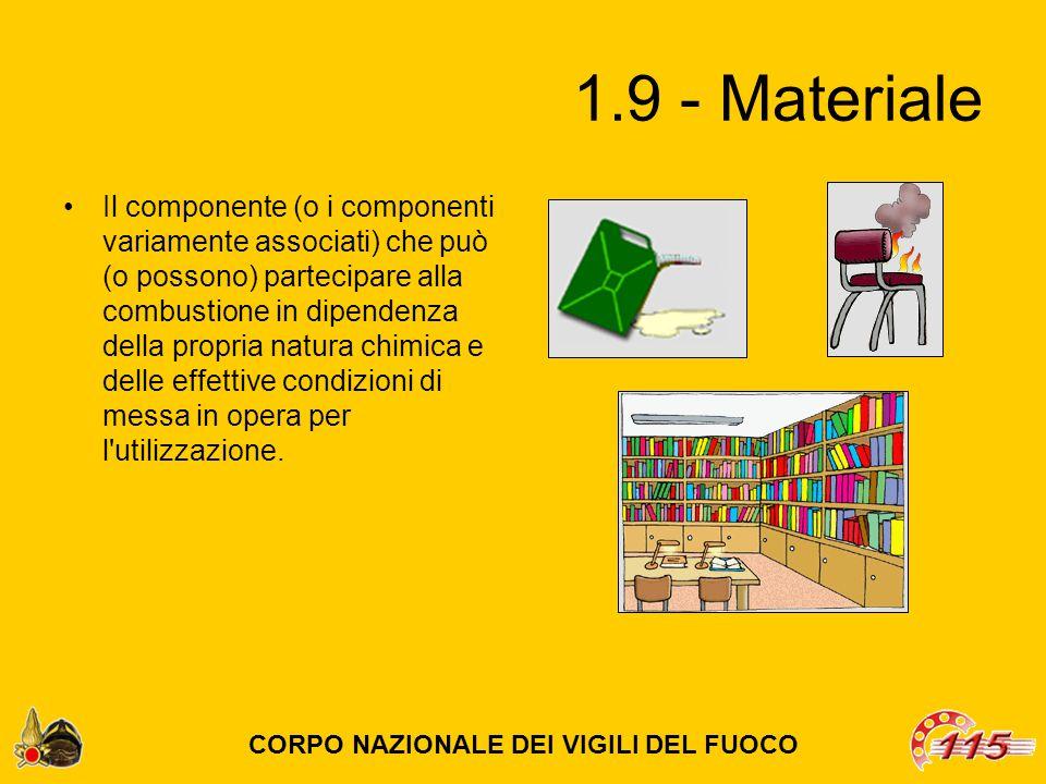1.9 - Materiale Il componente (o i componenti variamente associati) che può (o possono) partecipare alla combustione in dipendenza della propria natura chimica e delle effettive condizioni di messa in opera per l utilizzazione.