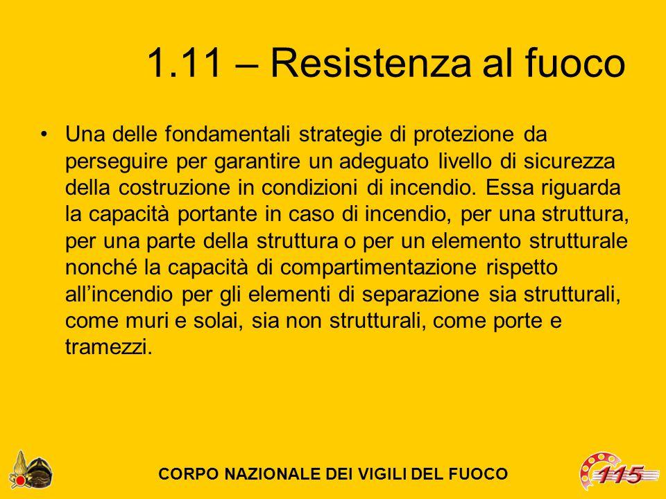 1.11 – Resistenza al fuoco Una delle fondamentali strategie di protezione da perseguire per garantire un adeguato livello di sicurezza della costruzione in condizioni di incendio.