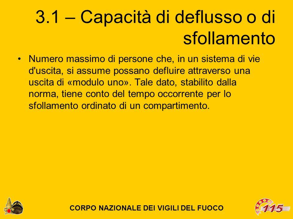 3.1 – Capacità di deflusso o di sfollamento Numero massimo di persone che, in un sistema di vie d uscita, si assume possano defluire attraverso una uscita di «modulo uno».