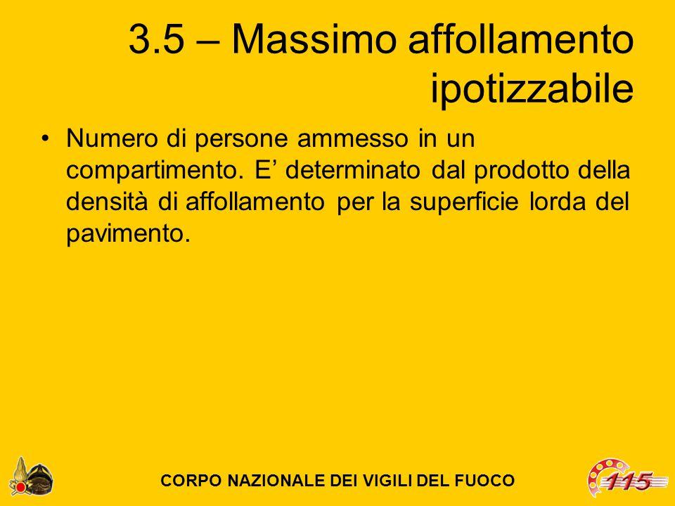 3.5 – Massimo affollamento ipotizzabile Numero di persone ammesso in un compartimento.