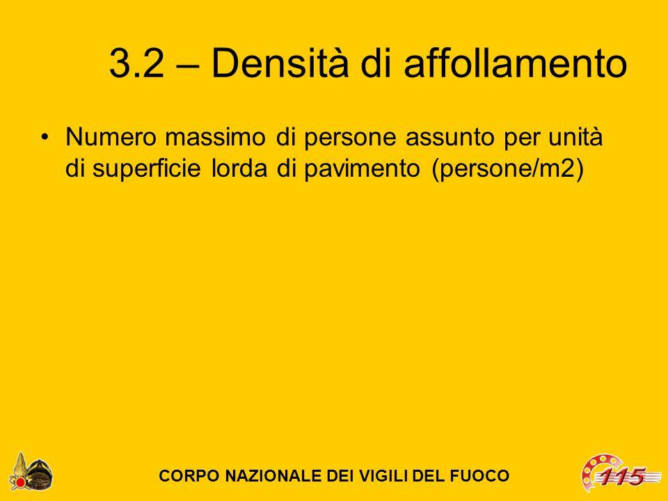 3.2 – Densità di affollamento Numero massimo di persone assunto per unità di superficie lorda di pavimento (persone/m2) CORPO NAZIONALE DEI VIGILI DEL FUOCO