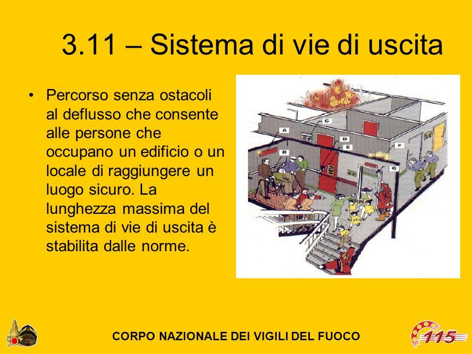 3.11 – Sistema di vie di uscita Percorso senza ostacoli al deflusso che consente alle persone che occupano un edificio o un locale di raggiungere un luogo sicuro.