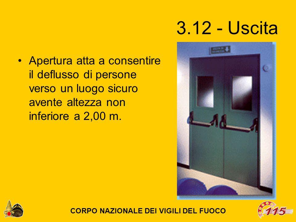 3.12 - Uscita Apertura atta a consentire il deflusso di persone verso un luogo sicuro avente altezza non inferiore a 2,00 m.
