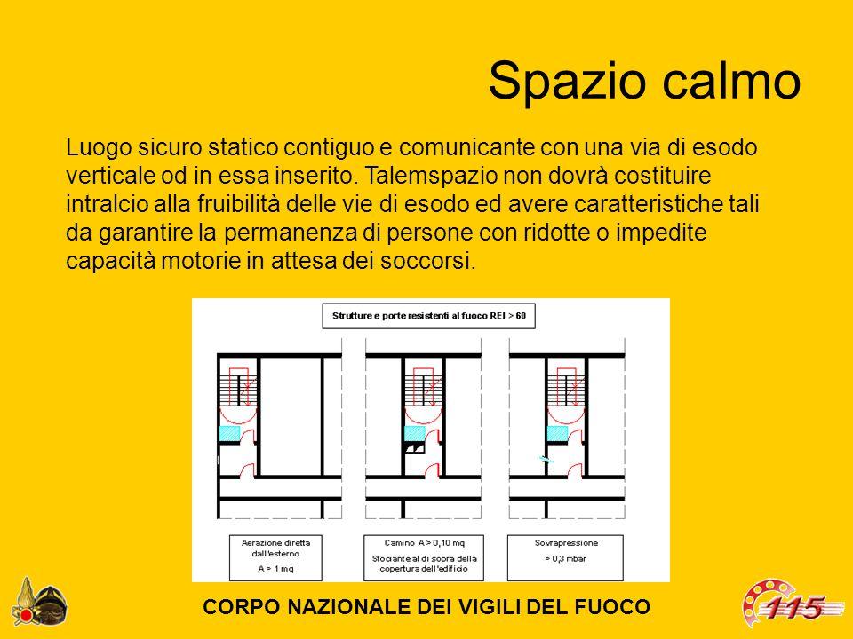 Spazio calmo Luogo sicuro statico contiguo e comunicante con una via di esodo verticale od in essa inserito.