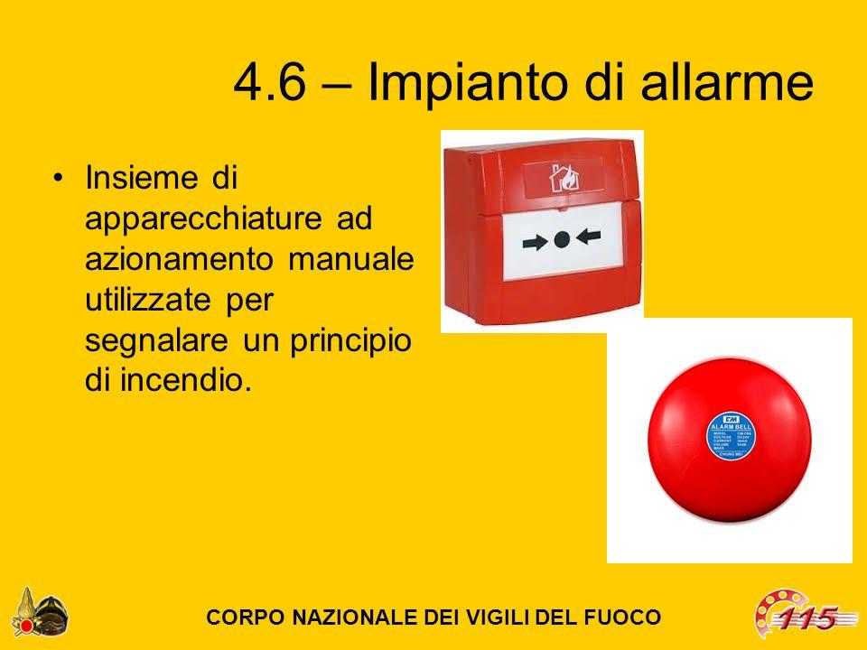 4.6 – Impianto di allarme Insieme di apparecchiature ad azionamento manuale utilizzate per segnalare un principio di incendio.
