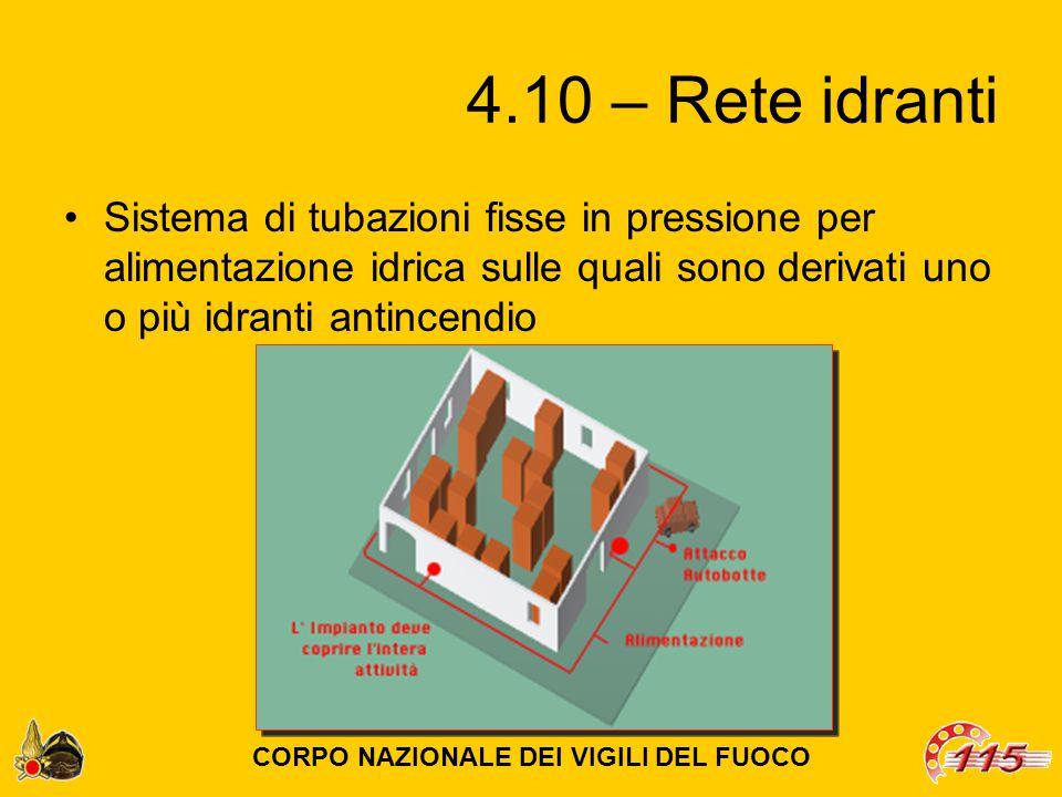 4.10 – Rete idranti Sistema di tubazioni fisse in pressione per alimentazione idrica sulle quali sono derivati uno o più idranti antincendio CORPO NAZIONALE DEI VIGILI DEL FUOCO
