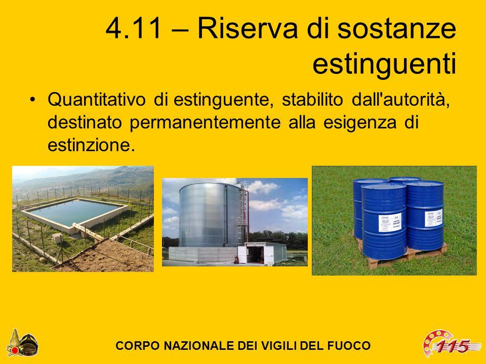 4.11 – Riserva di sostanze estinguenti Quantitativo di estinguente, stabilito dall autorità, destinato permanentemente alla esigenza di estinzione.