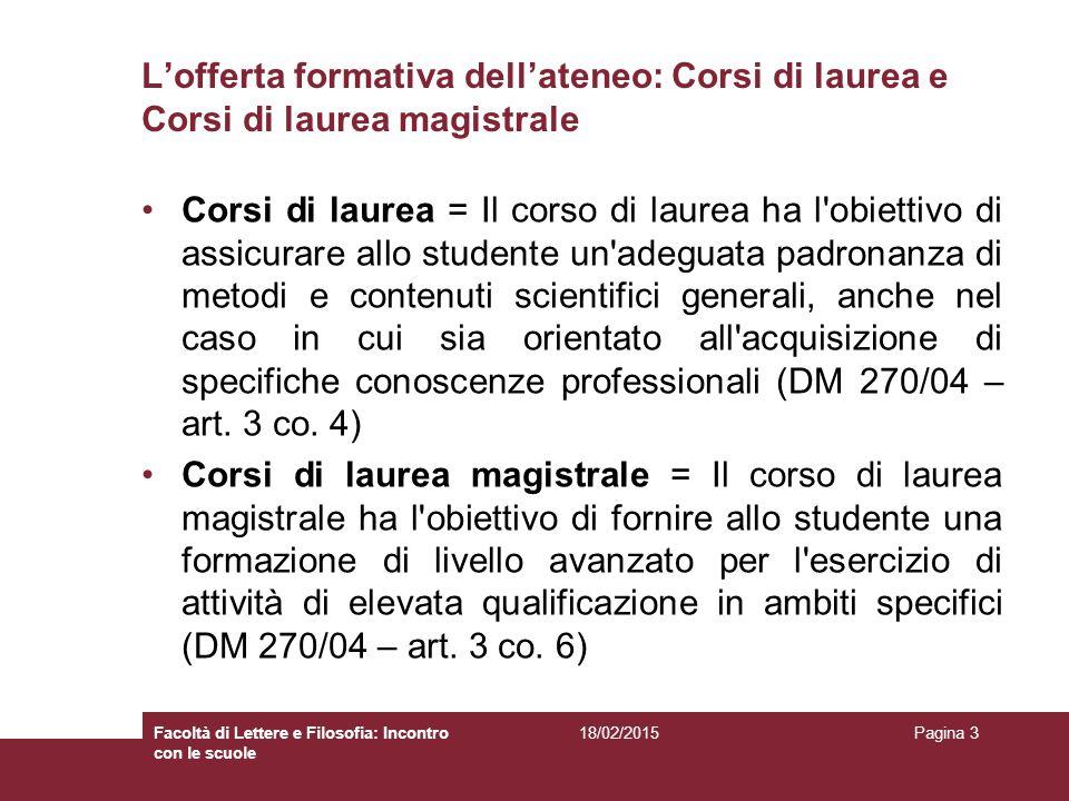 L'articolazione dei Corsi di laurea/laurea magistrale: crediti formativi ed esami (DD.