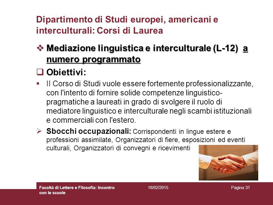 Dipartimento di Studi europei, americani e interculturali: Corsi di Laurea  Mediazione linguistica e interculturale (L-12) a numero programmato  Obi
