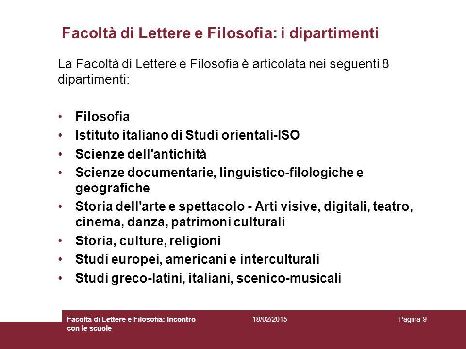Facoltà di Lettere e Filosofia: i dipartimenti La Facoltà di Lettere e Filosofia è articolata nei seguenti 8 dipartimenti: Filosofia Istituto italiano