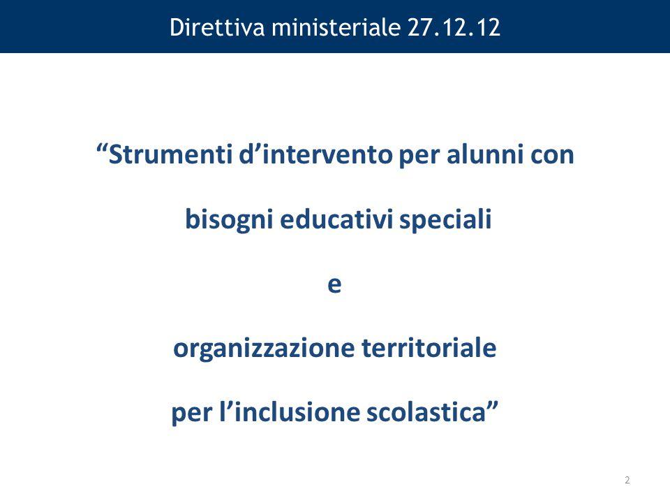 Direttiva ministeriale 27.12.12 Strumenti d'intervento per alunni con bisogni educativi speciali e organizzazione territoriale per l'inclusione scolastica 2