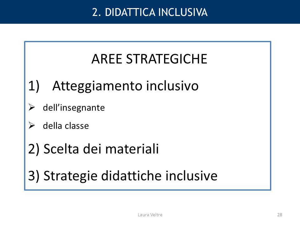 2. DIDATTICA INCLUSIVA AREE STRATEGICHE 1)Atteggiamento inclusivo  dell'insegnante  della classe 2) Scelta dei materiali 3) Strategie didattiche inc