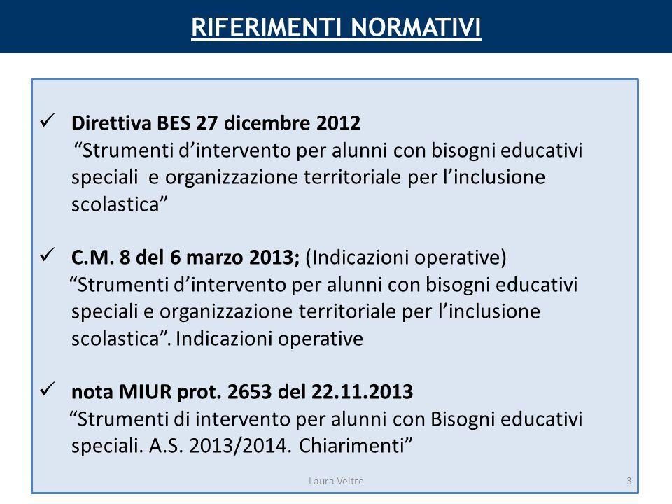 RIFERIMENTI NORMATIVI Direttiva BES 27 dicembre 2012 Strumenti d'intervento per alunni con bisogni educativi speciali e organizzazione territoriale per l'inclusione scolastica C.M.