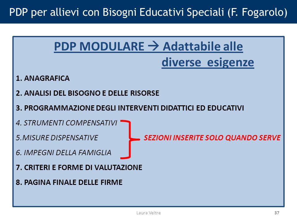 37 PDP per allievi con Bisogni Educativi Speciali (F.