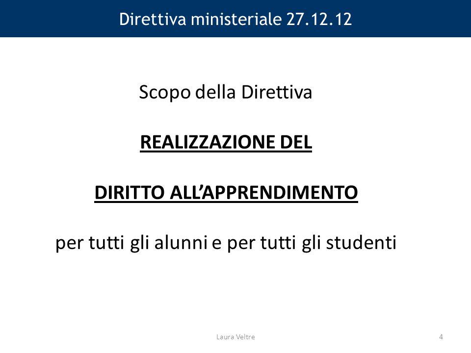 Direttiva ministeriale 27.12.12 Scopo della Direttiva REALIZZAZIONE DEL DIRITTO ALL'APPRENDIMENTO per tutti gli alunni e per tutti gli studenti Laura Veltre4