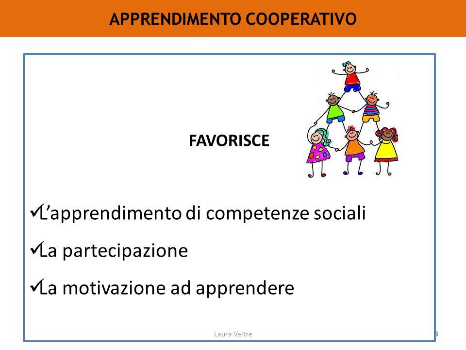 68 APPRENDIMENTO COOPERATIVO FAVORISCE L'apprendimento di competenze sociali La partecipazione La motivazione ad apprendere Laura Veltre
