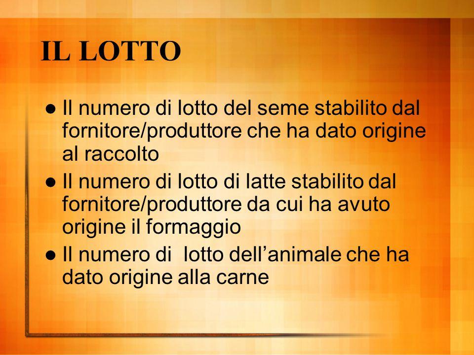 IL LOTTO Il numero di lotto del seme stabilito dal fornitore/produttore che ha dato origine al raccolto Il numero di lotto di latte stabilito dal forn