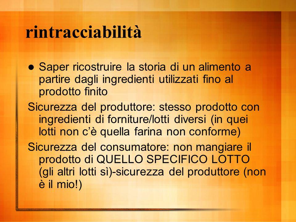 rintracciabilità Saper ricostruire la storia di un alimento a partire dagli ingredienti utilizzati fino al prodotto finito Sicurezza del produttore: s