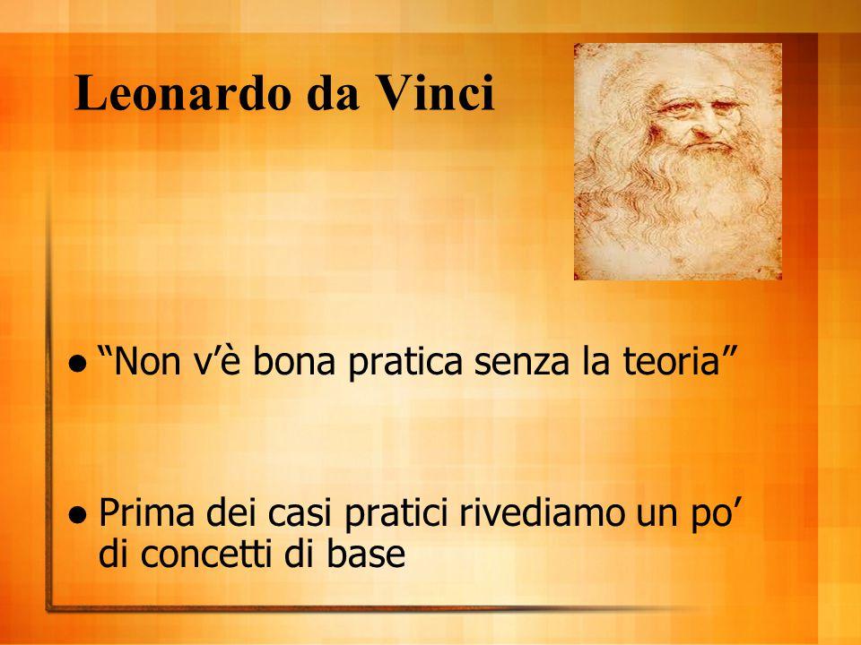 """Leonardo da Vinci """"Non v'è bona pratica senza la teoria"""" Prima dei casi pratici rivediamo un po' di concetti di base"""