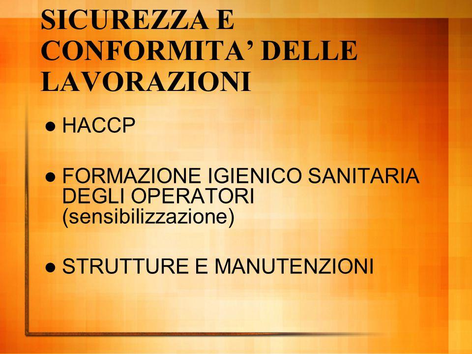 SICUREZZA E CONFORMITA' DELLE LAVORAZIONI HACCP FORMAZIONE IGIENICO SANITARIA DEGLI OPERATORI (sensibilizzazione) STRUTTURE E MANUTENZIONI
