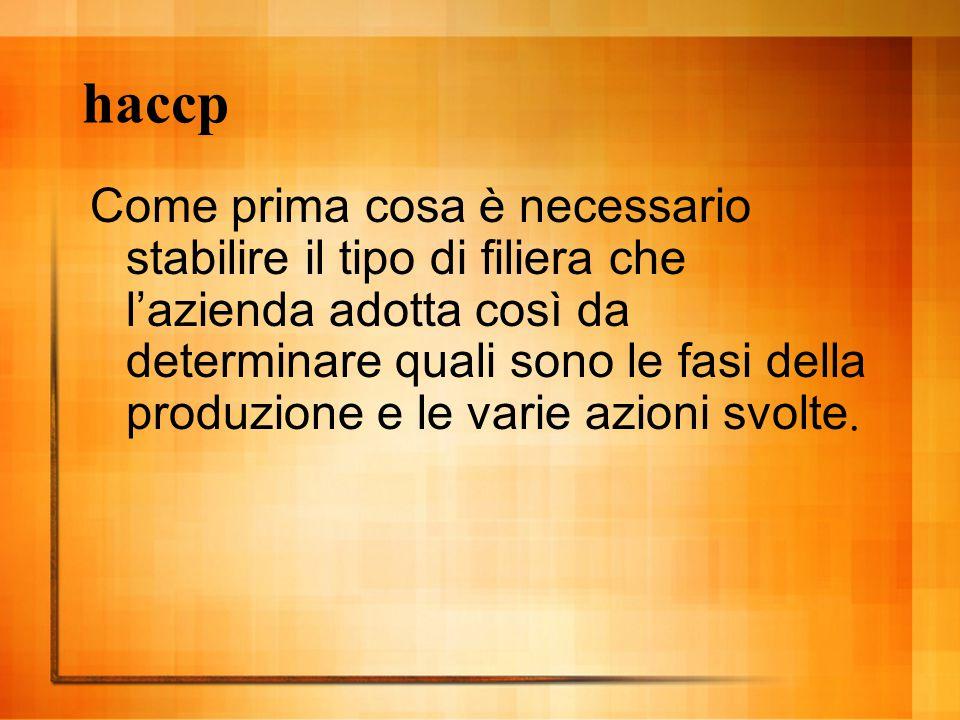 haccp Come prima cosa è necessario stabilire il tipo di filiera che l'azienda adotta così da determinare quali sono le fasi della produzione e le vari