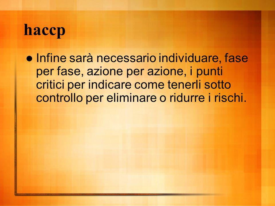 haccp Infine sarà necessario individuare, fase per fase, azione per azione, i punti critici per indicare come tenerli sotto controllo per eliminare o