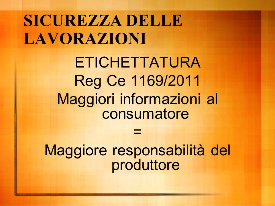 SICUREZZA DELLE LAVORAZIONI ETICHETTATURA Reg Ce 1169/2011 Maggiori informazioni al consumatore = Maggiore responsabilità del produttore