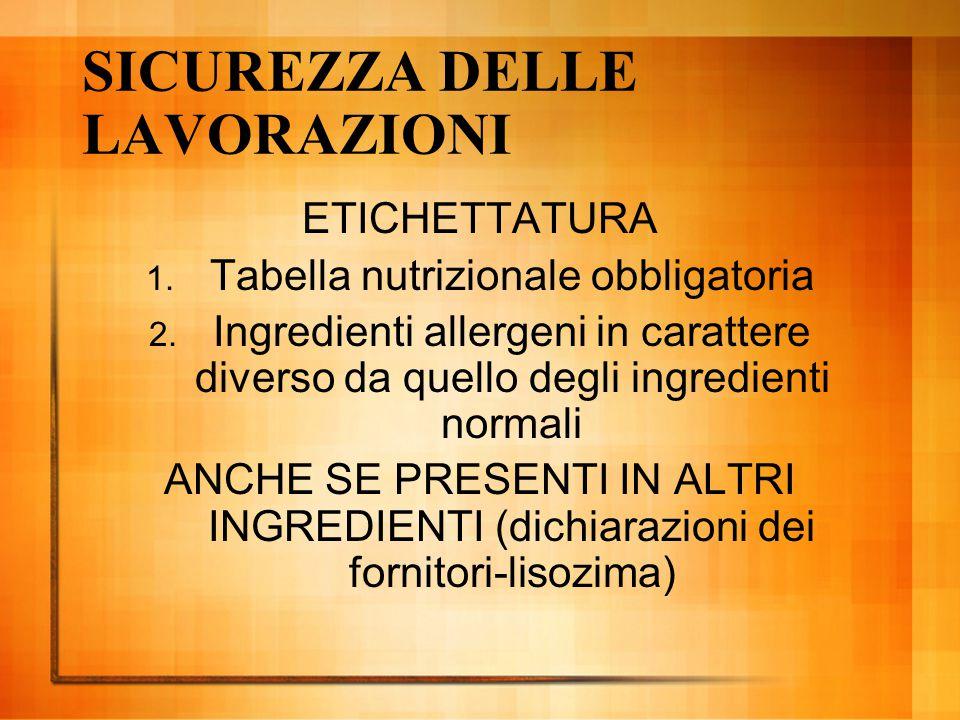 SICUREZZA DELLE LAVORAZIONI ETICHETTATURA 1. Tabella nutrizionale obbligatoria 2. Ingredienti allergeni in carattere diverso da quello degli ingredien