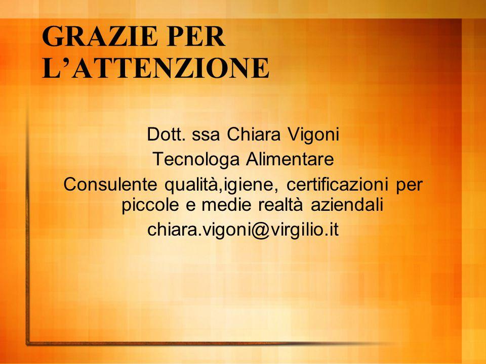 GRAZIE PER L'ATTENZIONE Dott. ssa Chiara Vigoni Tecnologa Alimentare Consulente qualità,igiene, certificazioni per piccole e medie realtà aziendali ch