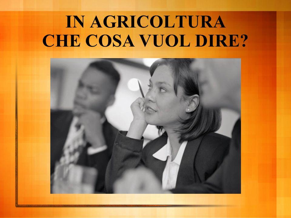 IN AGRICOLTURA CHE COSA VUOL DIRE?