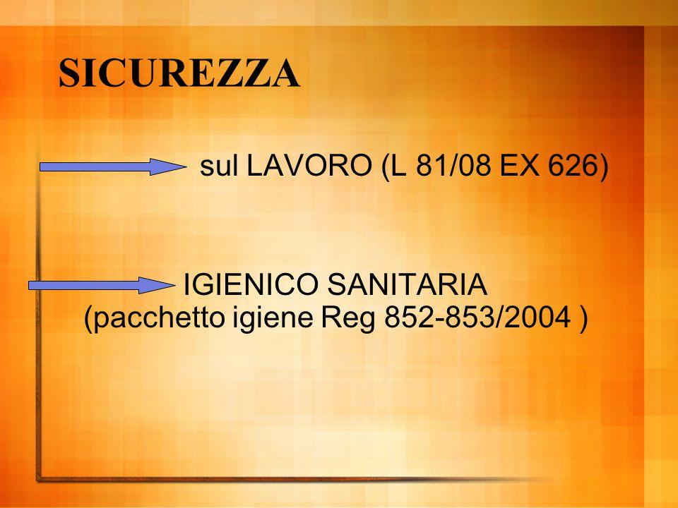 SICUREZZA sul LAVORO (L 81/08 EX 626) IGIENICO SANITARIA (pacchetto igiene Reg 852-853/2004 )