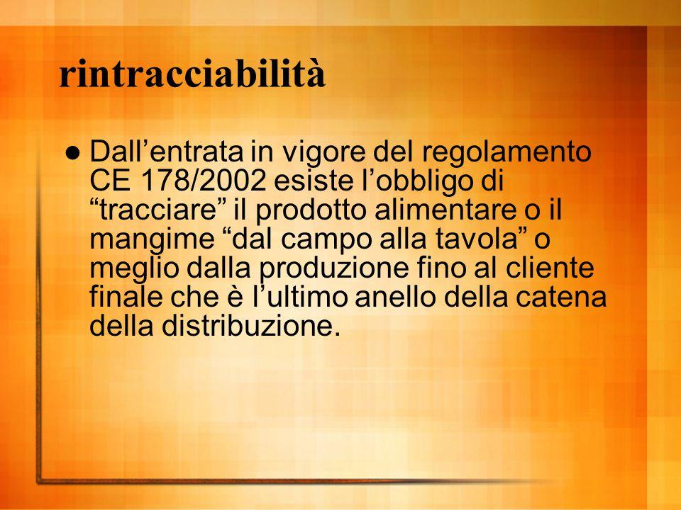 """rintracciabilità Dall'entrata in vigore del regolamento CE 178/2002 esiste l'obbligo di """"tracciare"""" il prodotto alimentare o il mangime """"dal campo all"""
