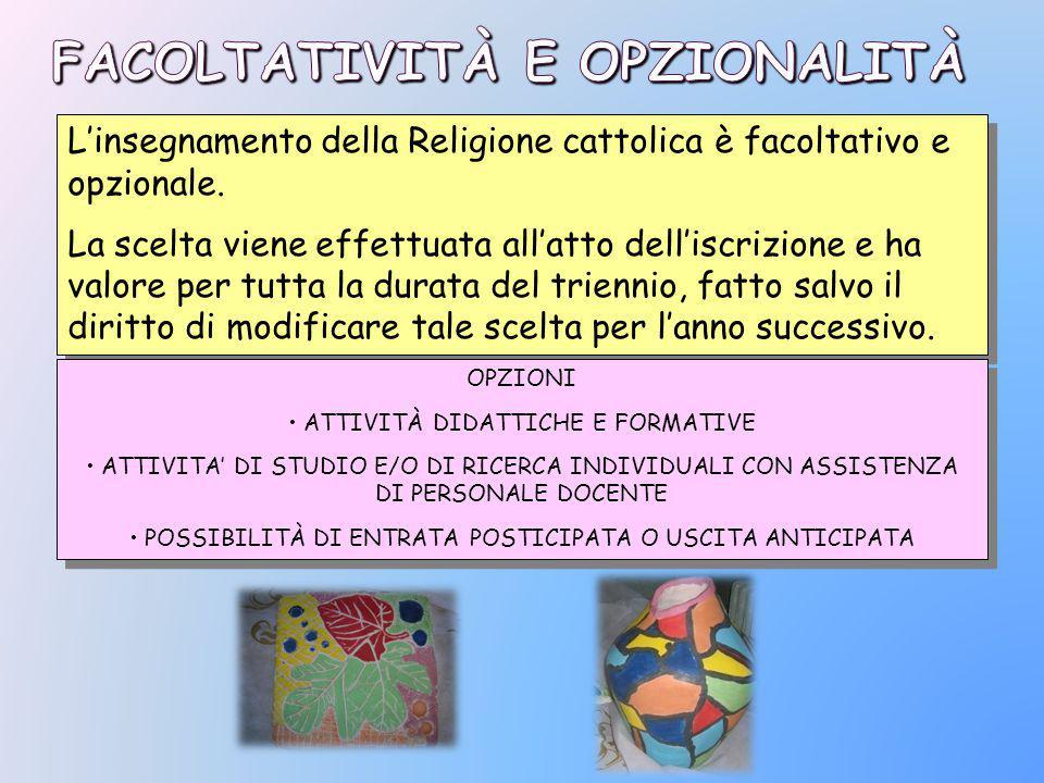 L'insegnamento della Religione cattolica è facoltativo e opzionale.
