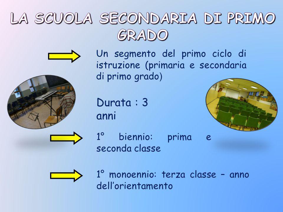 Un segmento del primo ciclo di istruzione (primaria e secondaria di primo grado ) Durata : 3 anni 1° biennio: prima e seconda classe 1° monoennio: terza classe – anno dell'orientamento