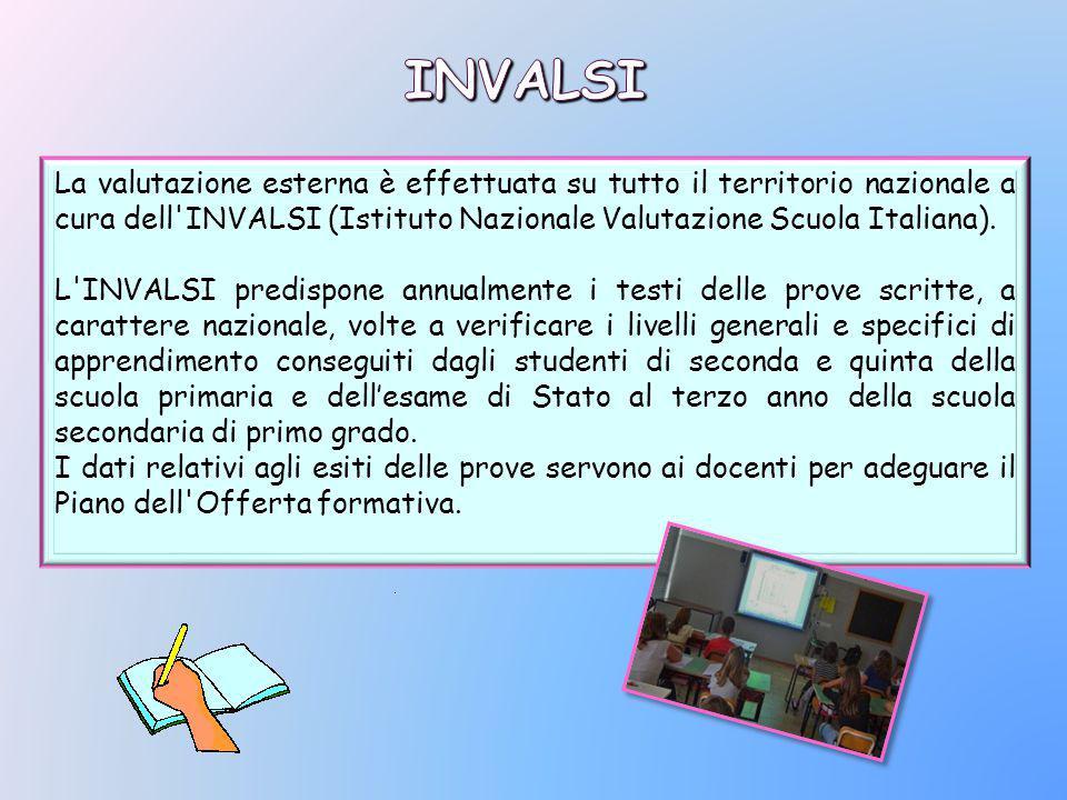 La valutazione esterna è effettuata su tutto il territorio nazionale a cura dell INVALSI (Istituto Nazionale Valutazione Scuola Italiana).