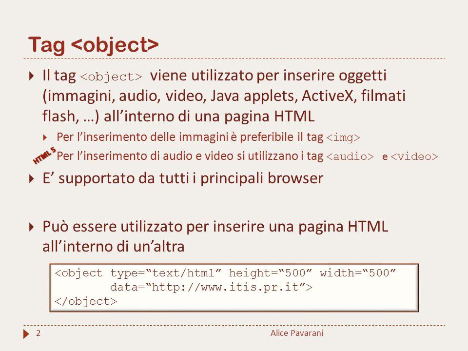 Tag 2  Il tag viene utilizzato per inserire oggetti (immagini, audio, video, Java applets, ActiveX, filmati flash, …) all'interno di una pagina HTML  Per l'inserimento delle immagini è preferibile il tag  Per l'inserimento di audio e video si utilizzano i tag e  E' supportato da tutti i principali browser  Può essere utilizzato per inserire una pagina HTML all'interno di un'altra Alice Pavarani <object type= text/html height= 500 width= 500 data= http://www.itis.pr.it >