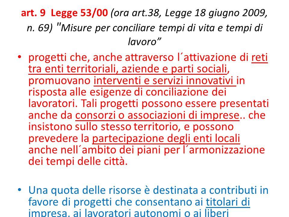 art.9 Legge 53/00 (ora art.38, Legge 18 giugno 2009, n.