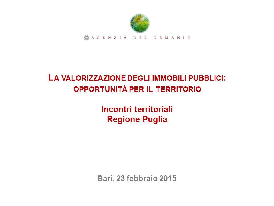 L A VALORIZZAZIONE DEGLI IMMOBILI PUBBLICI : OPPORTUNITÀ PER IL TERRITORIO Incontri territoriali Regione Puglia Bari, 23 febbraio 2015
