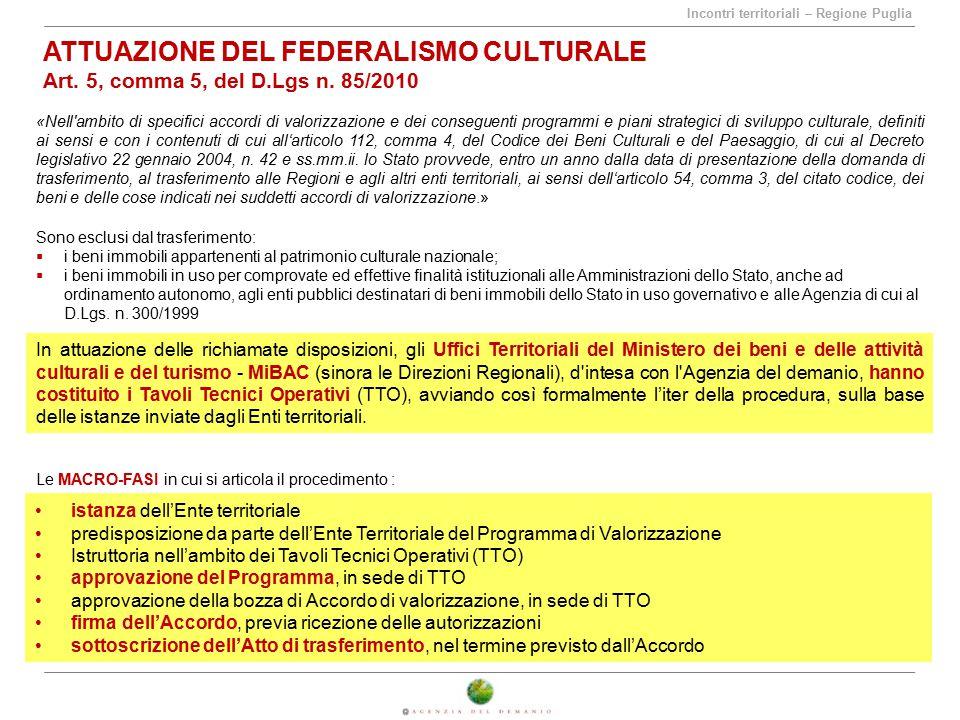 Incontri territoriali – Regione Puglia ATTUAZIONE DEL FEDERALISMO CULTURALE Art. 5, comma 5, del D.Lgs n. 85/2010 «Nell'ambito di specifici accordi di