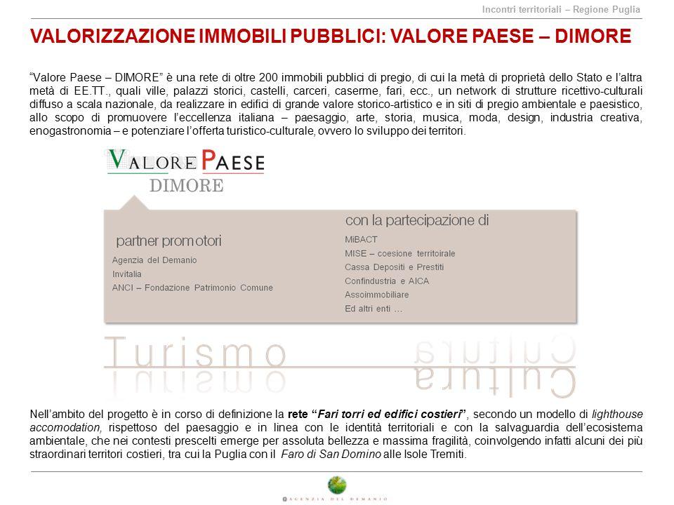 """Incontri territoriali – Regione Puglia VALORIZZAZIONE IMMOBILI PUBBLICI: VALORE PAESE – DIMORE """"Valore Paese – DIMORE"""" è una rete di oltre 200 immobil"""
