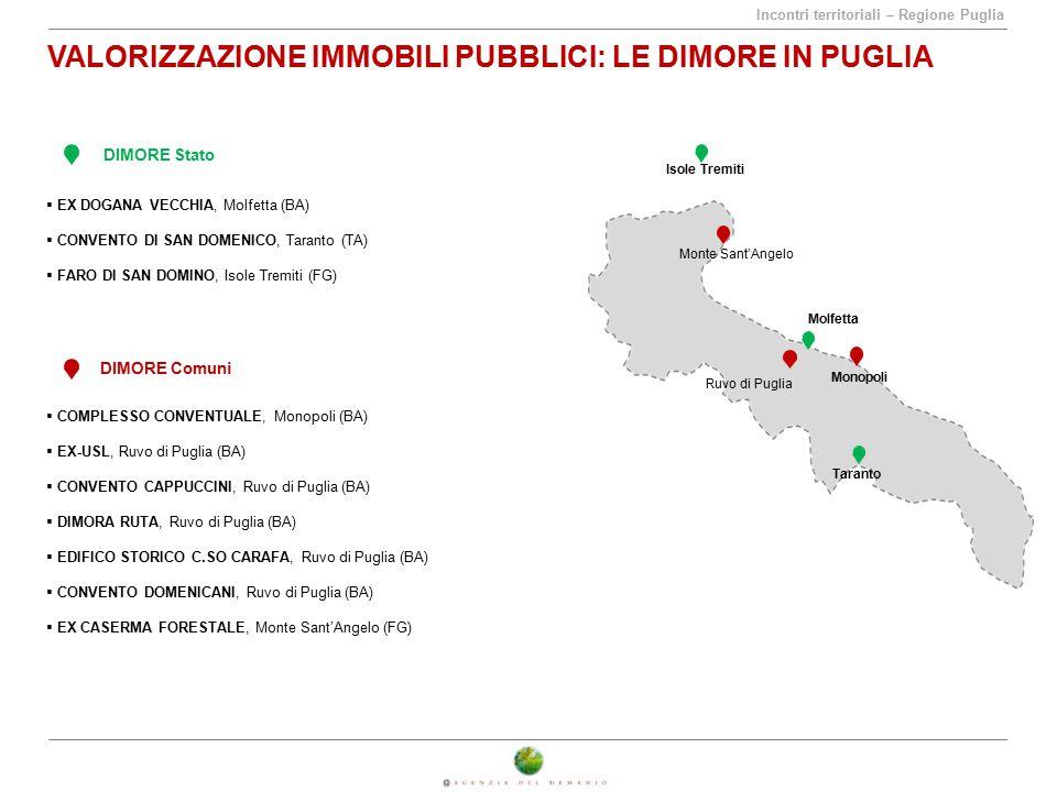 Incontri territoriali – Regione Puglia VALORIZZAZIONE IMMOBILI PUBBLICI: LE DIMORE IN PUGLIA DIMORE Stato DIMORE Comuni  EX DOGANA VECCHIA, Molfetta