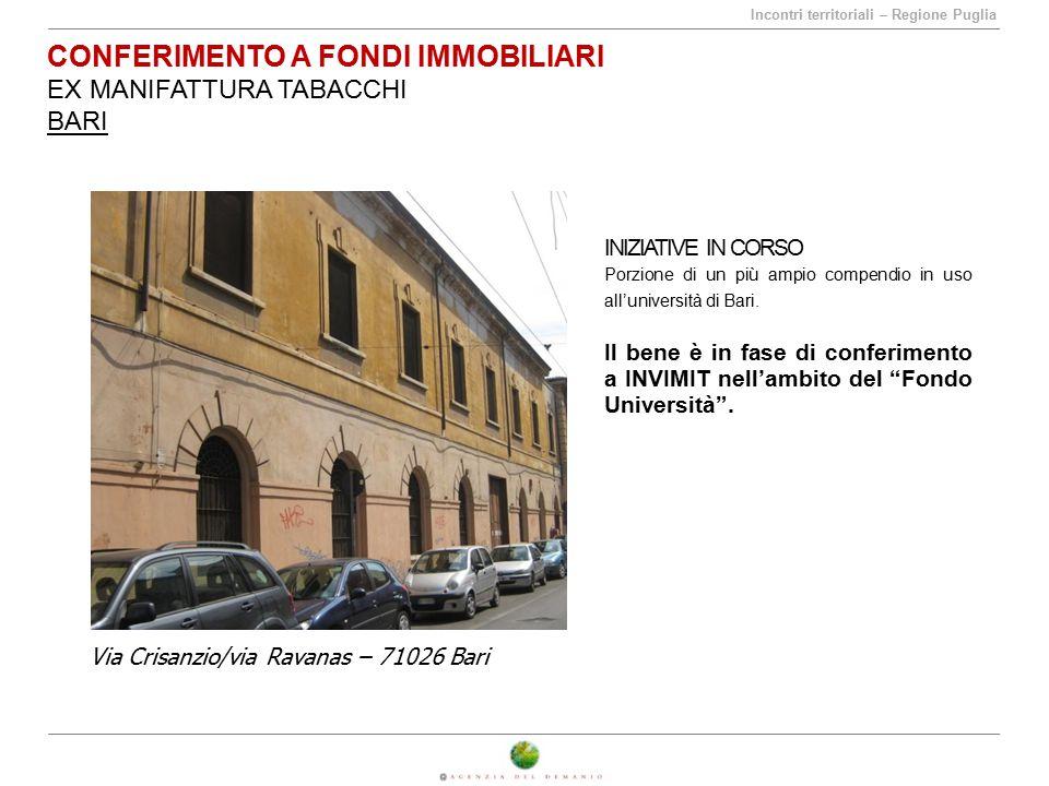 Incontri territoriali – Regione Puglia CONFERIMENTO A FONDI IMMOBILIARI EX MANIFATTURA TABACCHI BARI INIZIATIVE IN CORSO Porzione di un più ampio comp