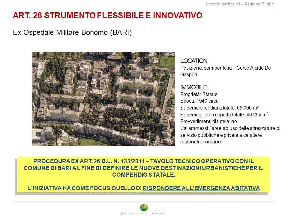 Incontri territoriali – Regione Puglia ART. 26 STRUMENTO FLESSIBILE E INNOVATIVO Ex Ospedale Militare Bonomo (BARI) LOCATION Posizione: semiperiferia